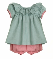 Sophie & Lucas Baby / Toddler Girls Green / Red Checks Bloomers Set - Red Bow on Back