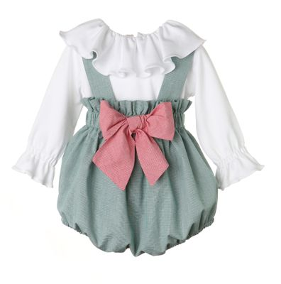 Sophie & Lucas Baby / Toddler Girls Green Check Bubble - Ruffle Blouse - Red Bow