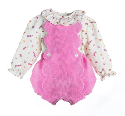 Sophie & Lucas Baby / Toddler Girls Pink Cord Scallop Bubble with Candy Print Blouse