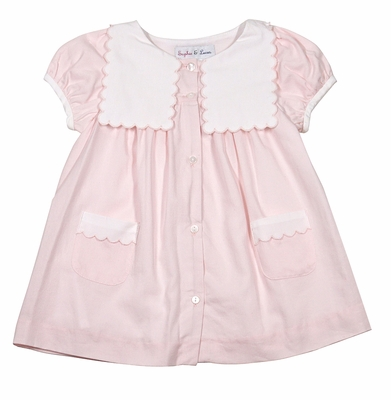 Sophie & Lucas Baby / Toddler Girls Pink Cozy Scallop Pockets and Collar Dress