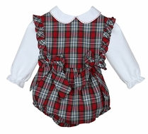 Sophie & Lucas Baby / Toddler Girls Red Merry Tartan Holiday Plaid Ruffle Bubble with Blouse