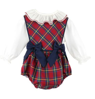 Sophie & Lucas Baby / Toddler Girls Red Tartan Plaid Holiday Bow Bubble with Ruffle Blouse