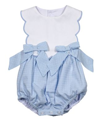 Sophie & Lucas Baby / Toddler Girls Sherbet Scallop Bubble with Bows - Blue