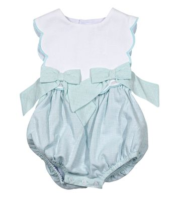 Sophie & Lucas Baby / Toddler Girls Sherbet Scallop Bubble with Bows - Mint Green