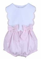 Sophie & Lucas Baby / Toddler Girls Sherbet Scallop Bubble with Bows - Pink