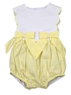 Sophie & Lucas Baby / Toddler Girls Sherbet Scallop Bubble with Bows - Yellow