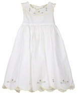 Sophie & Lucas Baby / Toddler Girls Sleeveless White Scallop Dress - Yellow Ducklings