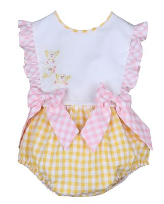 Sophie & Lucas Baby / Toddler Girls Sunny Yellow Gingham Easter Chicks Bubble with Pink Bows