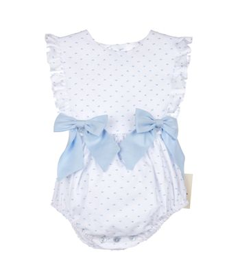 Sophie & Lucas Baby / Toddler Girls Swiss Dot Bubble with Bows - Blue