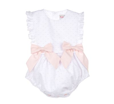 Sophie & Lucas Baby / Toddler Girls Swiss Dot Bubble with Bows - Pink