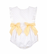 Sophie & Lucas Baby / Toddler Girls Swiss Dot Bubble with Bows - Yellow