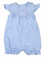 Sophie & Lucas Baby / Toddler Girls Vintage Petal Collar Bubble - Blue