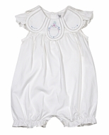 Sophie & Lucas Baby / Toddler Girls Vintage Petal Collar Bubble - White