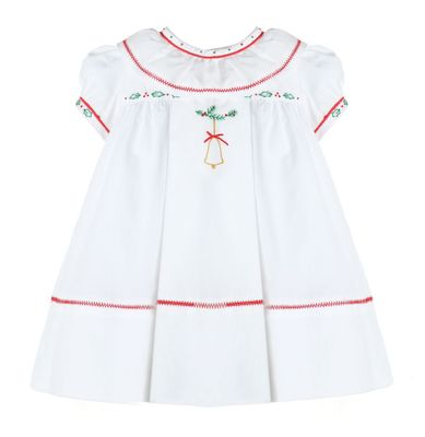 Sophie & Lucas Baby / Toddler Girls White Embroidered Christmas Bell Dress