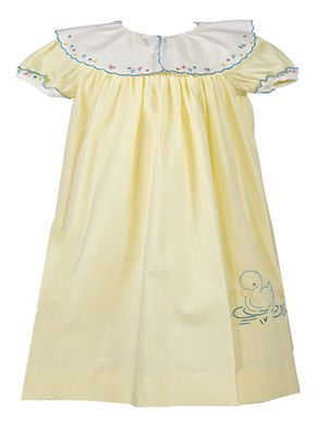 Sophie & Lucas Baby / Toddler Girls Yellow Dress - Flower Embroidery Scallop Collar - Easter Duck