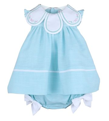 Sophie & Lucas Girls Petal Float Dress - Aqua Terrace Weave