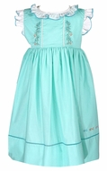Sophie & Lucas Girls Aqua Under the Sea Dress - Embroidered Fish - Sash & Ruffles