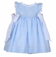 Sophie & Lucas Girls Blue Dotted Swiss Dress - Flutter Sleeves - Big White Bows at Sides
