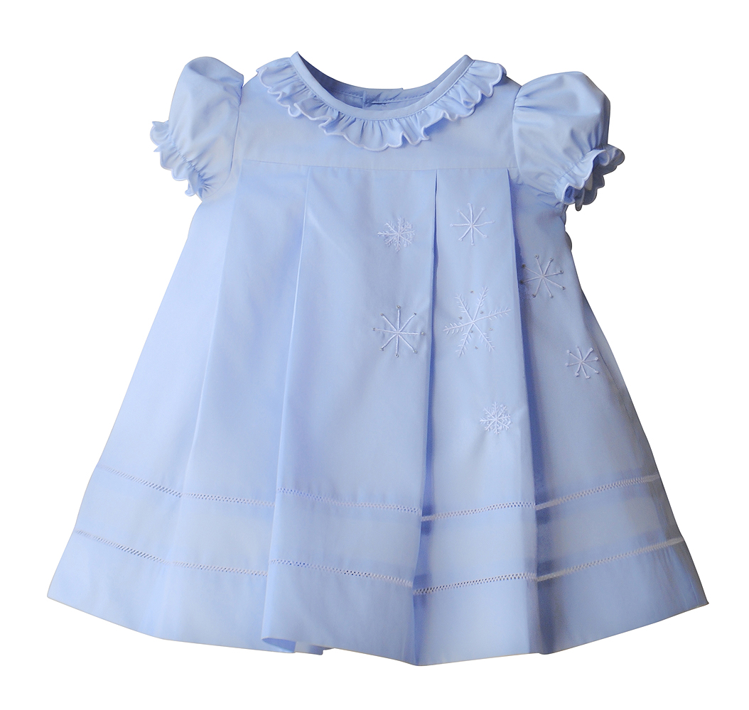 Sophie Lucas Girls Blue Ruffle Dress Embroidered Snowflakes Snow Flakes