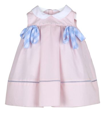 Sophie & Lucas Girls Cape Check Dress - Pink with Blue Bows