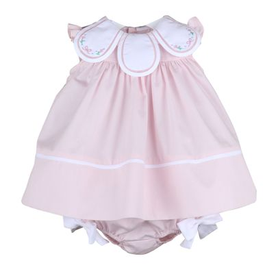 Sophie & Lucas Girls Classic Petal Float Dress - Pink with Bow Embroidery