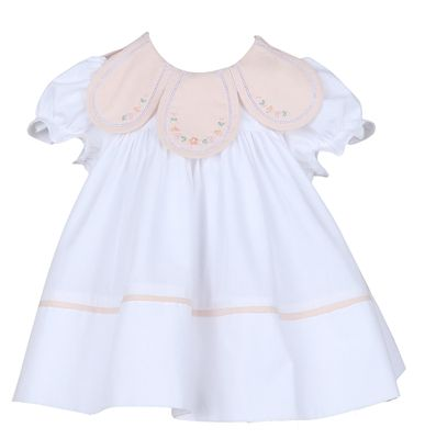 Sophie & Lucas Girls Classic White & Peach Petal Dress