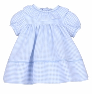Sophie & Lucas Girls Coastal Blue Check Ruffle Float Dress