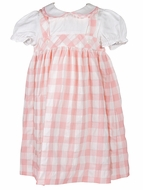 Sophie & Lucas Girls Coral Pink Check Pinafore Dress