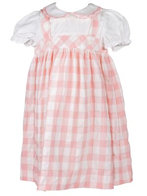 01a29813e06 Sophie & Lucas Girls Coral Pink Check Pinafore Dress