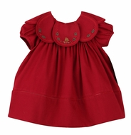 Sophie & Lucas Girls Cozy Cord Cranberry Holly & Pine Dress