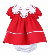 Sophie & Lucas Girls Cozy Cord Red Petal Dress