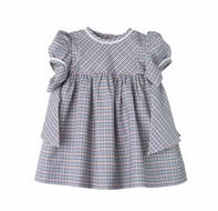 Sophie & Lucas Girls Fall Festival Navy Blue Plaid Dress with Side Bows