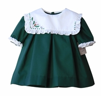Sophie & Lucas Girls Forest Green Cozy Pines Christmas Dress - Embroidered Holly