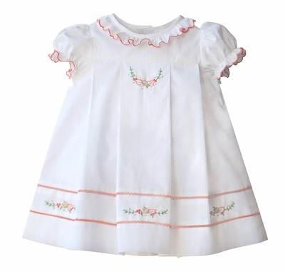 Sophie & Lucas Girls Ivory Butternut Ruffle Dress - Fall Acorns & Leaves Embroidery