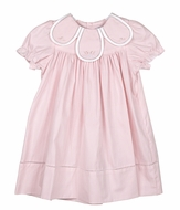 Sophie & Lucas Girls Laurel Embroidered Petal Collar Dress - Short Puffy Sleeves - Pink
