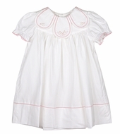 Sophie & Lucas Girls Laurel Embroidered Petal Collar Dress - Short Puffy Sleeves - White