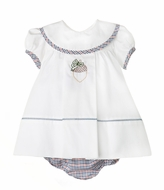 Sophie & Lucas Girls Navy Blue Fall Festival Embroidered Acorn Float Dress - Bloomers with Infant Sizes