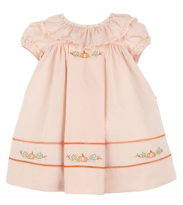 Sophie & Lucas Girls Peach Pumpkin Harvest & Thanksgiving Dress