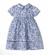 Sophie & Lucas Girls Blue Chinoise Floral Dress with Sash