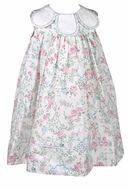 Sophie & Lucas Girls Pink / Blue Floral Sleeveless Dress - Petal Collar