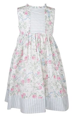 Sophie & Lucas Girls Pink / Blue Floral Sleeveless Dress - Ruffle Collar - Striped Bodice
