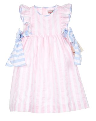 Sophie & Lucas Girls Pink Sunny Stripe Dress with Blue Side Bows