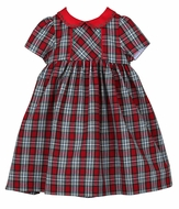 Sophie & Lucas Girls Red Merry Tartan Holiday Plaid Dress - Red Sash