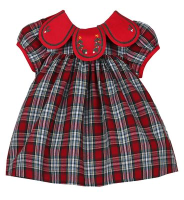Sophie & Lucas Girls Red Merry Tartan Holiday Plaid Petal Dress