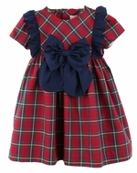 Sophie & Lucas Girls Red Tartan Plaid Holiday Dress - Navy Blue Bow