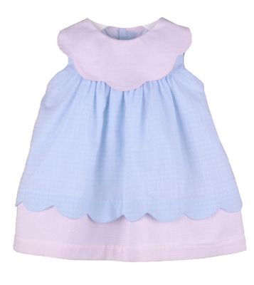 Sophie & Lucas Girls Sherbet Scallop Dress - Blue with Pink Collar