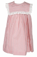 Sophie & Lucas Girls Sleeveless Red Striped Dress - Embroidered July 4th Firecracker