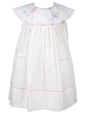 Sophie & Lucas Girls Sleeveless White Dress - Ruffle Collar - Flamingo Embroidery