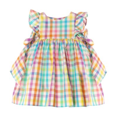 Sophie & Lucas Girls Summer Rainbow Check Pinafore Dress with Side Bows