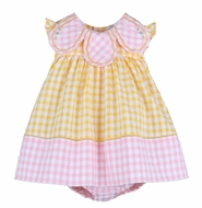 Sophie & Lucas Girls Sunny Yellow / Pink Gingham Palm Beach Candy Petal Dress